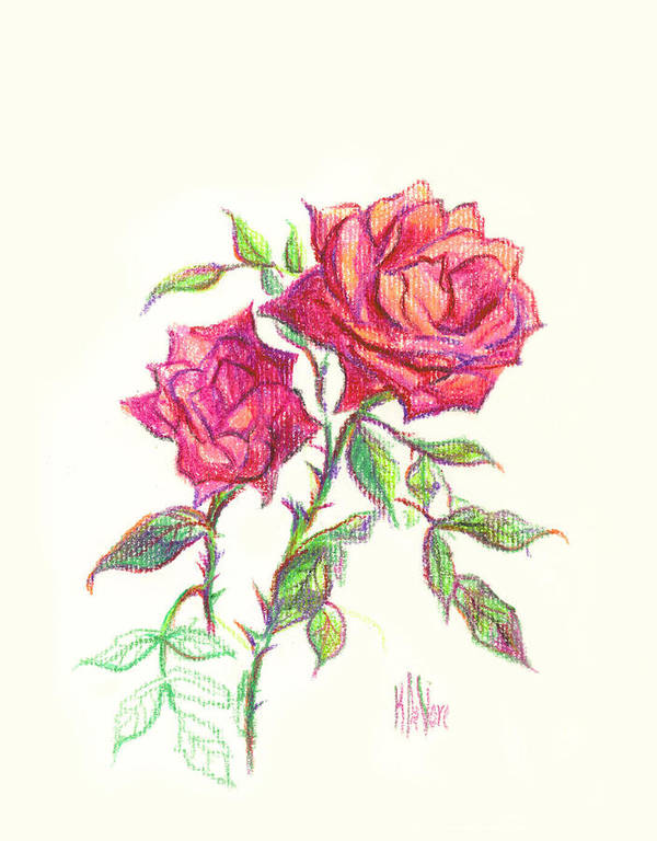 Nature Art Print featuring the painting Minature Red Rose by Kip DeVore
