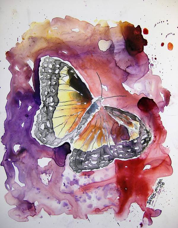 Monarch Art Print featuring the painting Monarch Butterfly by Derek Mccrea