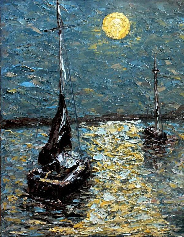 Sea Art Print featuring the painting Moonlight by Galina Khlupina