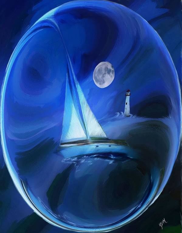 Moonlight Art Print featuring the painting Moonlight Sail by Yvonne Della-Moretta
