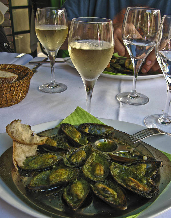 Food Print featuring the photograph Moules And Chardonnay by Allen Sheffield