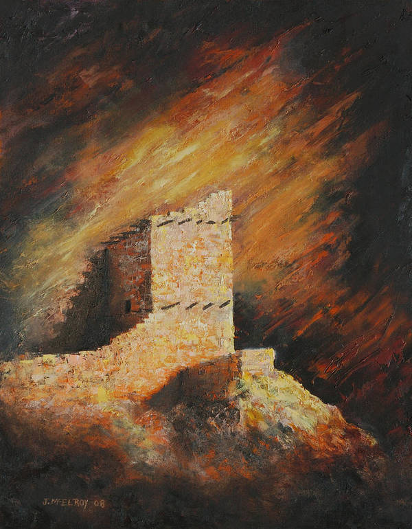 Anasazi Art Print featuring the painting Mummy Cave Ruins 2 by Jerry McElroy