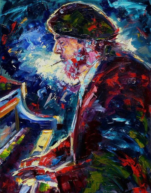 Blues Print featuring the painting Night Tripper by Debra Hurd