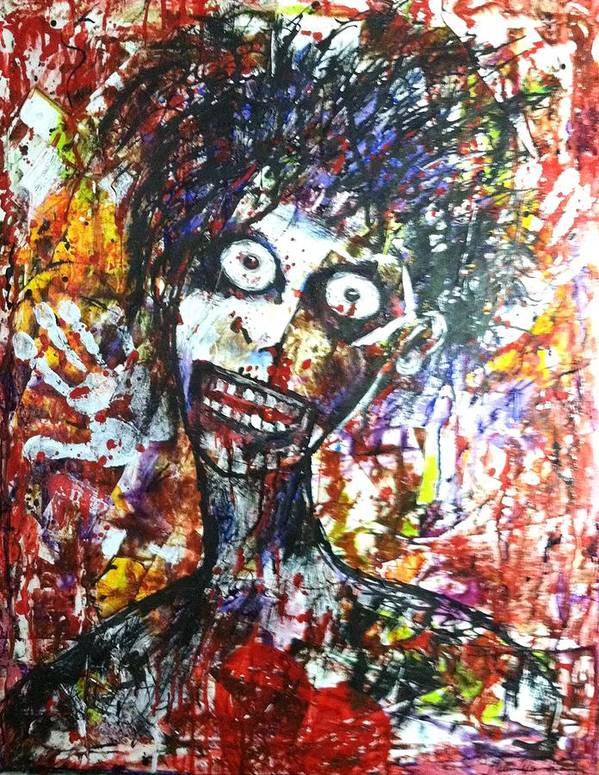 Zombie Art Print featuring the painting Ombie by Helen Wendle