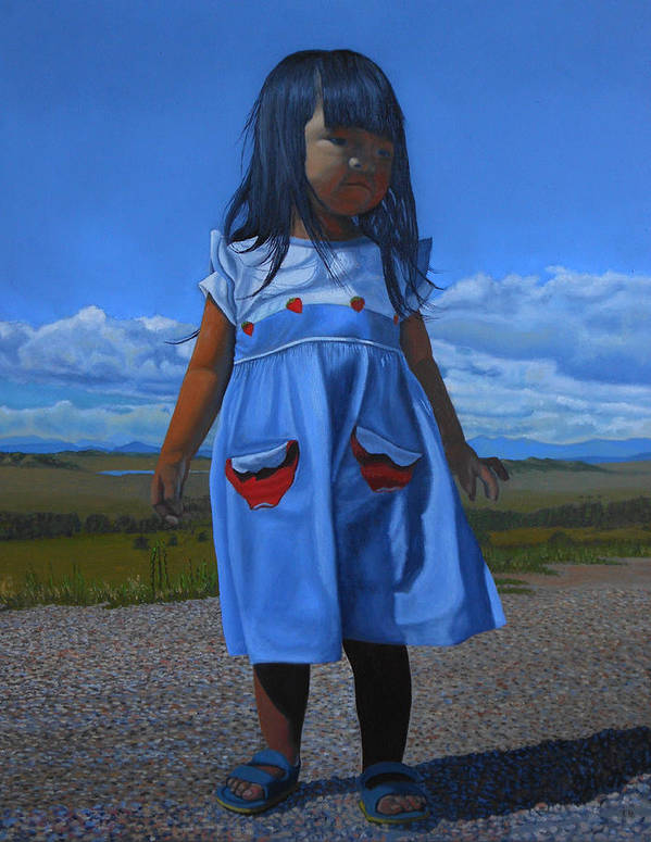 Children Paintings Art Print featuring the painting On The Divide by Thu Nguyen