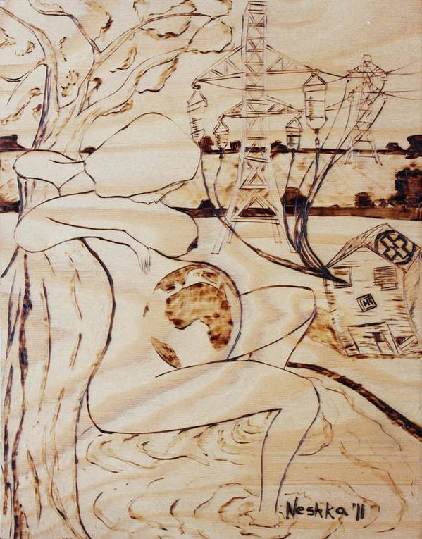 Being Born Art Print featuring the pyrography Our World No.7 - Being Born by Neshka Muchalska