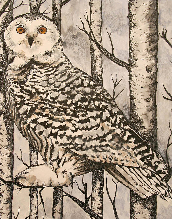 Monica Warhol Art Print featuring the painting Owl by Monica Warhol