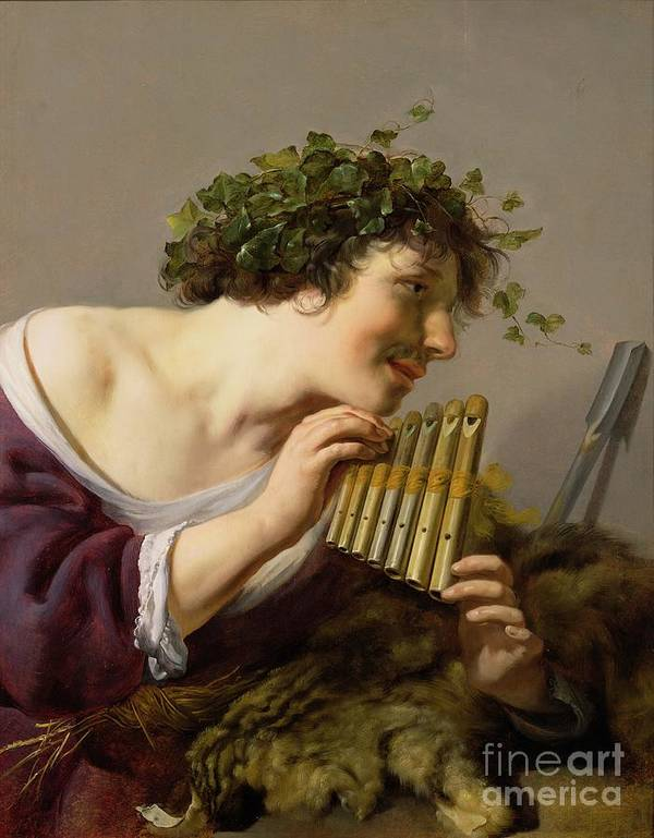 Vine Leaves Art Print featuring the painting Pan Playing His Pipes by Paulus Moreelse
