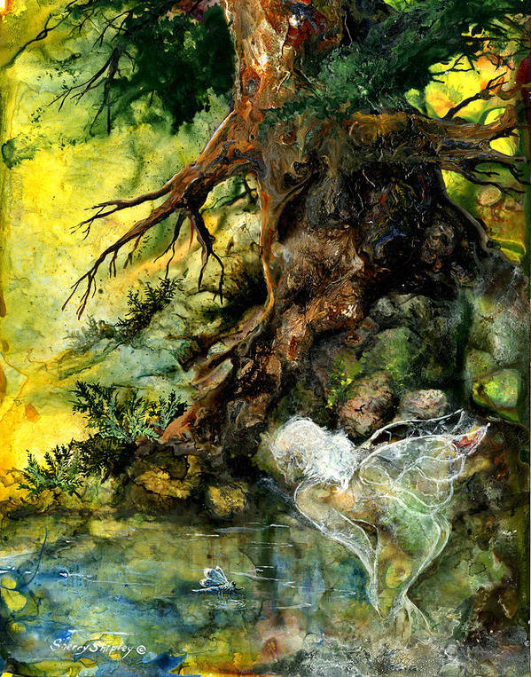Fairy Art Print featuring the painting Pond Fairy by Sherry Shipley