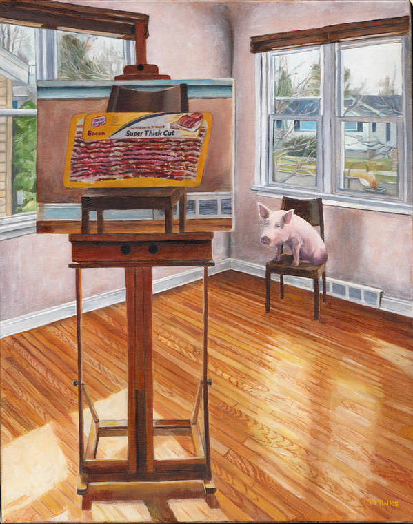 Pig Art Print featuring the painting Portrait Of Bacon by Thomas Weeks