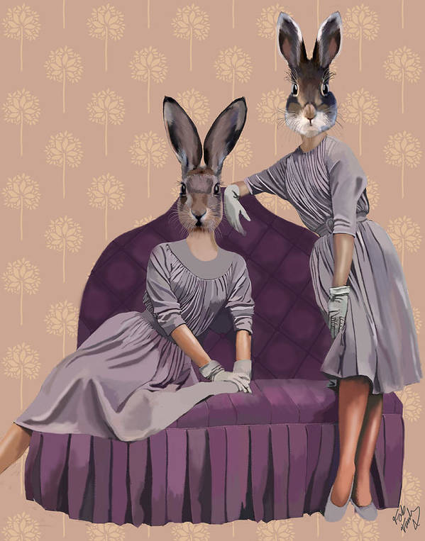 Rabbits Framed Prints Print featuring the digital art Rabbits In Purple by Kelly McLaughlan