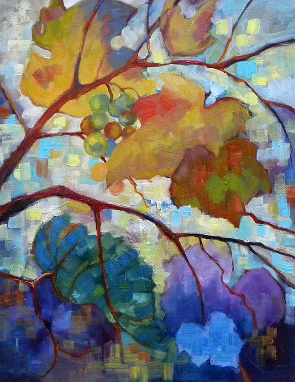 Grapes Art Print featuring the painting Red Grape Vines IIi by Peggy Wilson