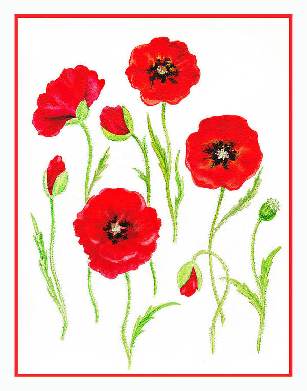 Poppies Art Print featuring the painting Red Poppies by Irina Sztukowski