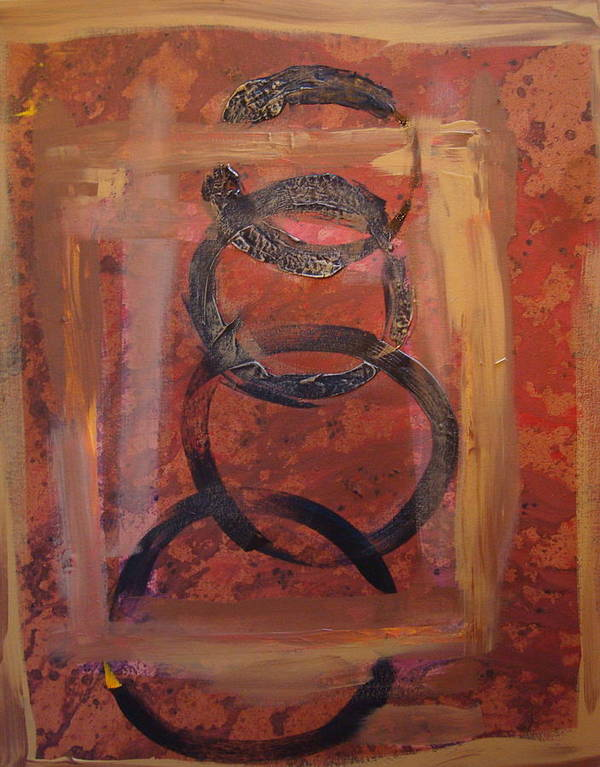 Abstract Art Print featuring the painting Rings - Circles Of Life by Holly Picano