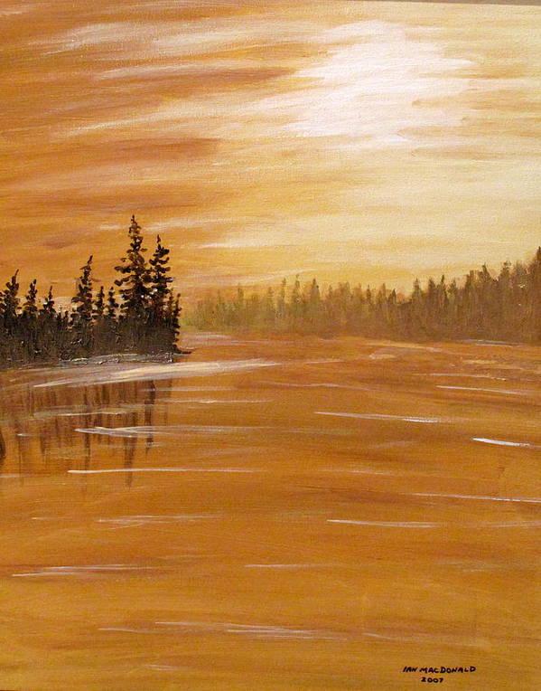 Northern Ontario Art Print featuring the painting Rock Lake Morning 1 by Ian MacDonald