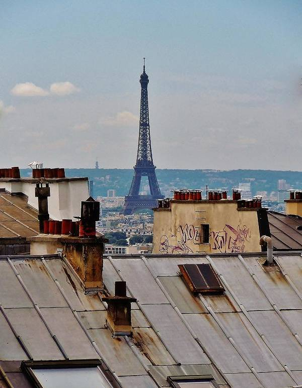 Paris Print featuring the photograph Rooftops Of Paris And Eiffel Tower by Marilyn Dunlap