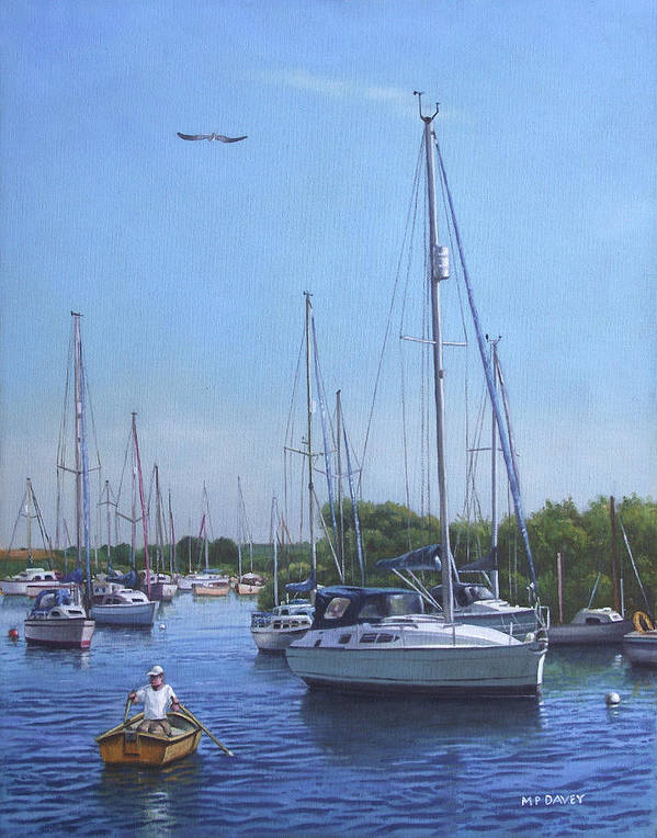 Christchurch Art Print featuring the painting Sailing Boats At Christchurch Harbour by Martin Davey