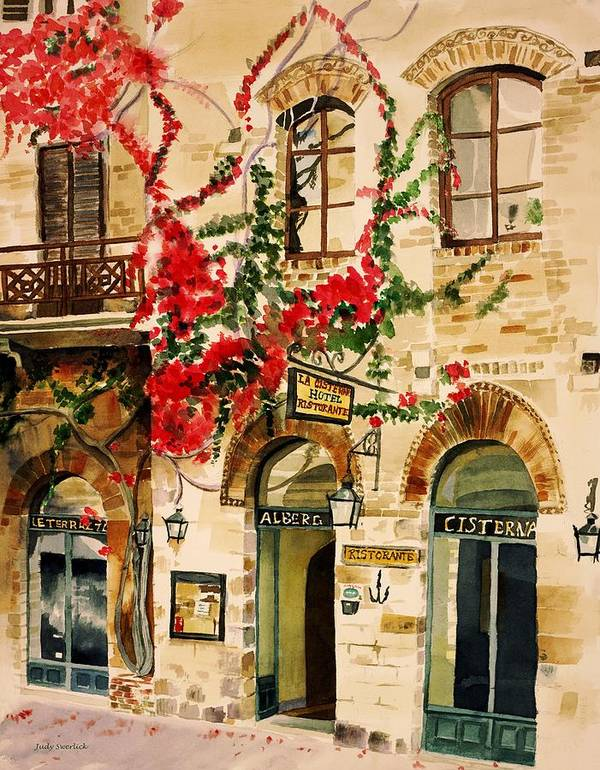 Award-winning Art Print featuring the painting San Gimignano by Judy Swerlick