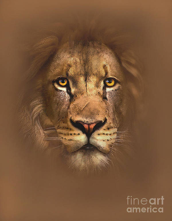 Lion Art Print featuring the painting Scarface Lion by Robert Foster