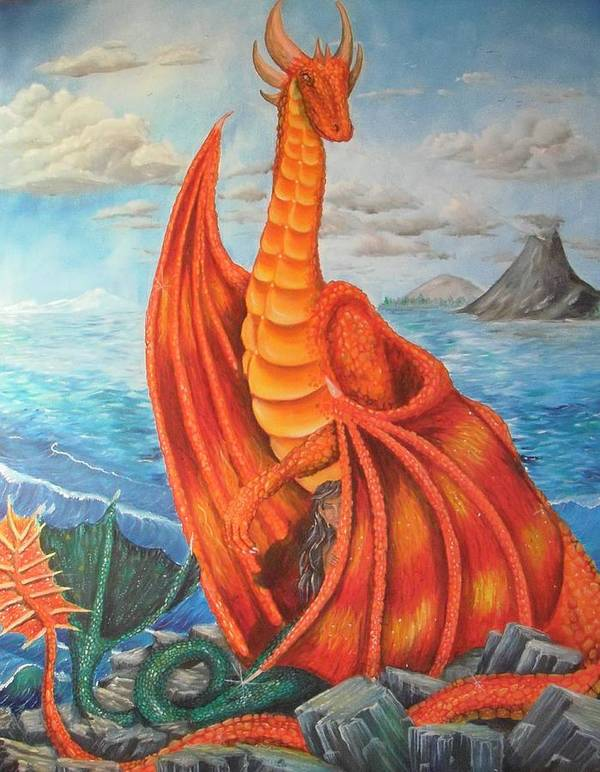 Dragon Art Print featuring the painting Sea Shore Pair by Nicole Angell