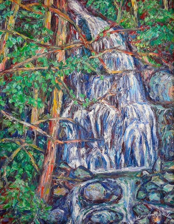 Waterfall Art Print featuring the painting Secluded Waterfall by Kendall Kessler