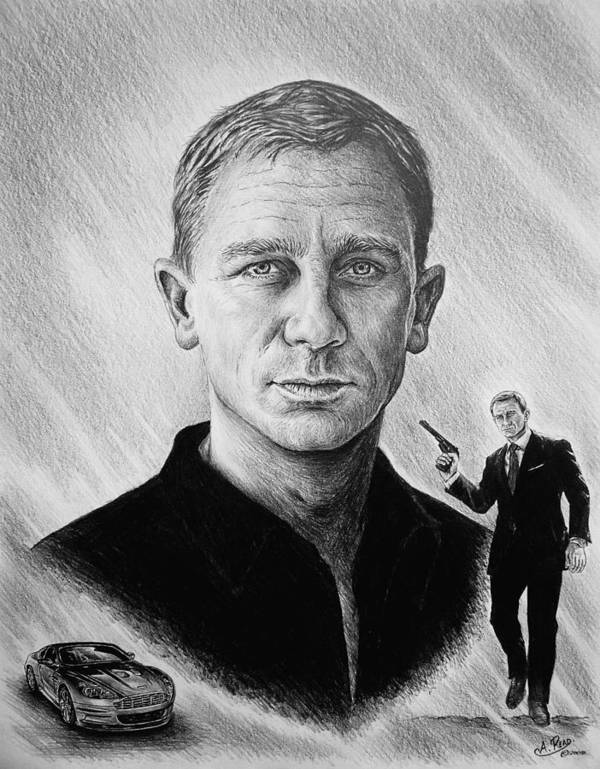 Daniel Craig Art Print featuring the painting Secret Agent by Andrew Read