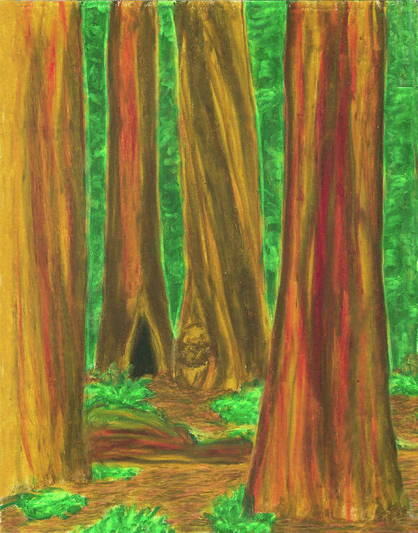 Forest Art Print featuring the painting Sheltering Mysteries by Carrie MaKenna