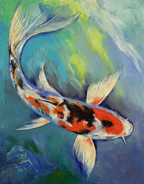 Showa Koi Art Print featuring the painting Showa Butterfly Koi by Michael Creese