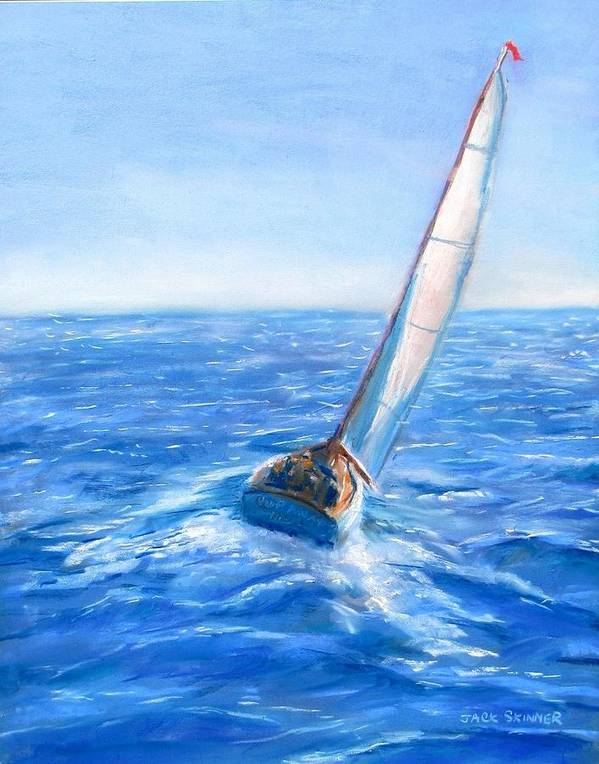 Sailboat Art Print featuring the painting Slip Away by Jack Skinner