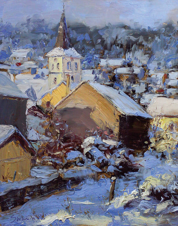 Snow Art Print featuring the painting Snow Village by James Swanson