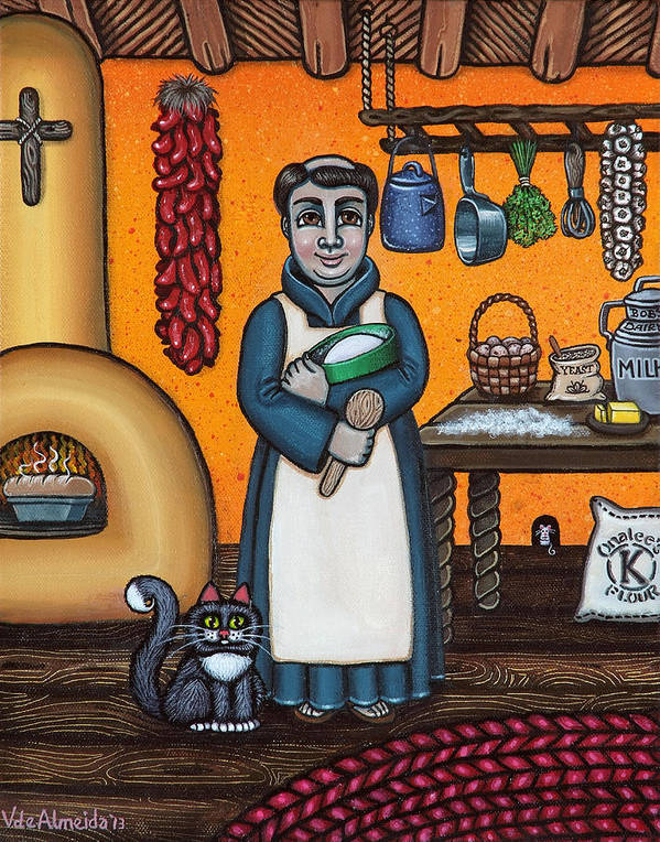San Pascual Print featuring the painting St. Pascual Making Bread by Victoria De Almeida
