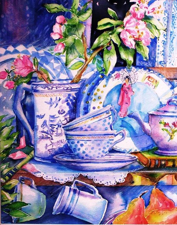 Still Life Art Print featuring the painting Still Life With Japanese Plate And Apple Blossom by Trudi Doyle