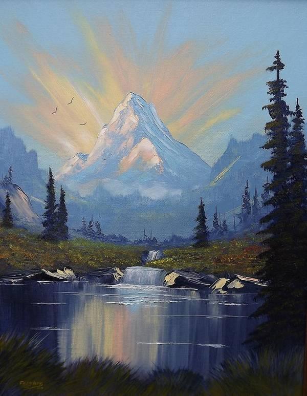 Mountain Art Print featuring the painting Sunburst Landscape by Richard Faulkner