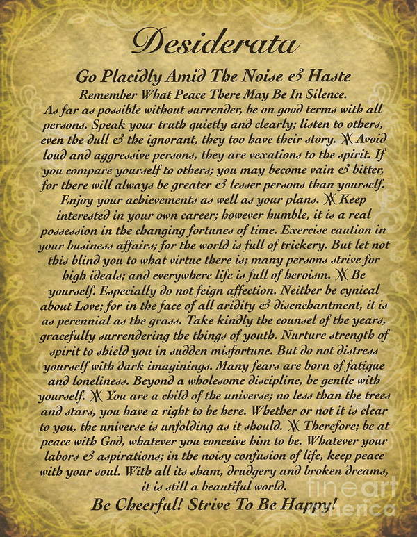 The Desiderata Poem On Antique Wallpaper Art Print By