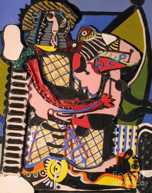 Abstract Art Print featuring the mixed media The Kiss Aka The Embrace After Picasso 1925 by Mack Galixtar