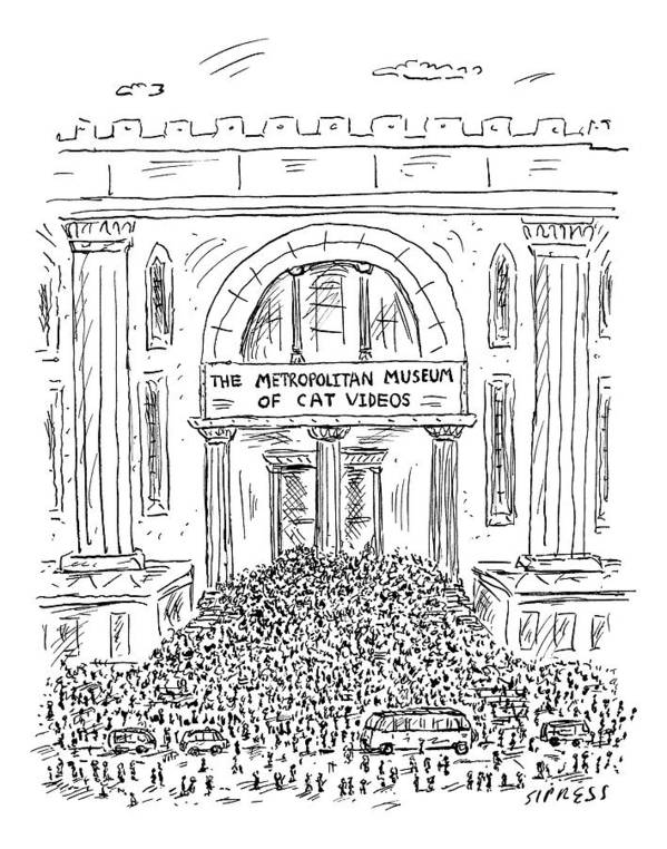 Captionless Art Print featuring the drawing The Metropolitan Museum Of Cat Videos Thronged by David Sipress