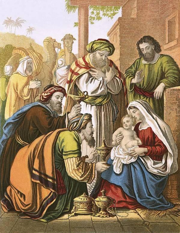Bible; Christ; Jesus; Nativity; Three Wise Men; Three Kings; Birth; Bethlehem Art Print featuring the painting The Nativity by English School