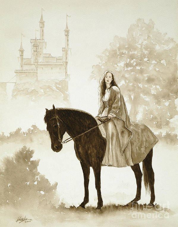 Fantasy Art Print featuring the painting The Princess Has A Day Out. by John Silver