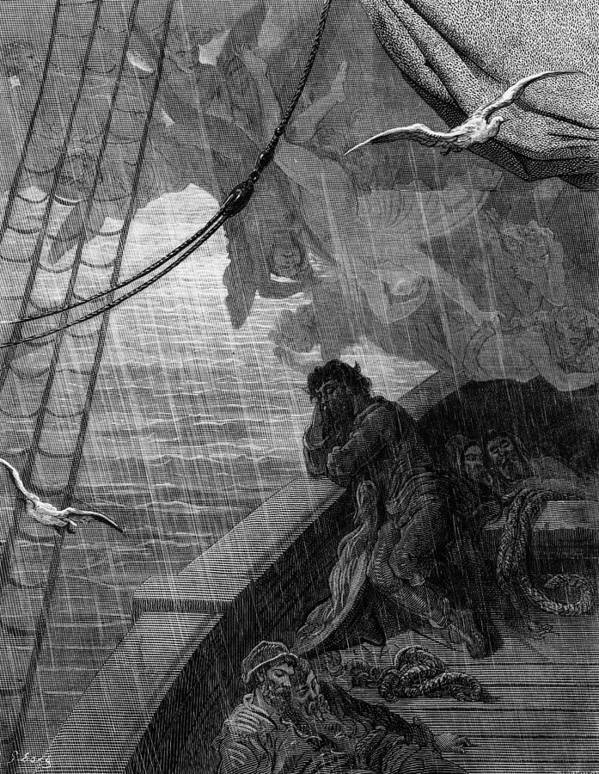 Raining; Sailors; Sailor; Vessel; Ship; Sea; Dore Art Print featuring the drawing The Rain Begins To Fall by Gustave Dore