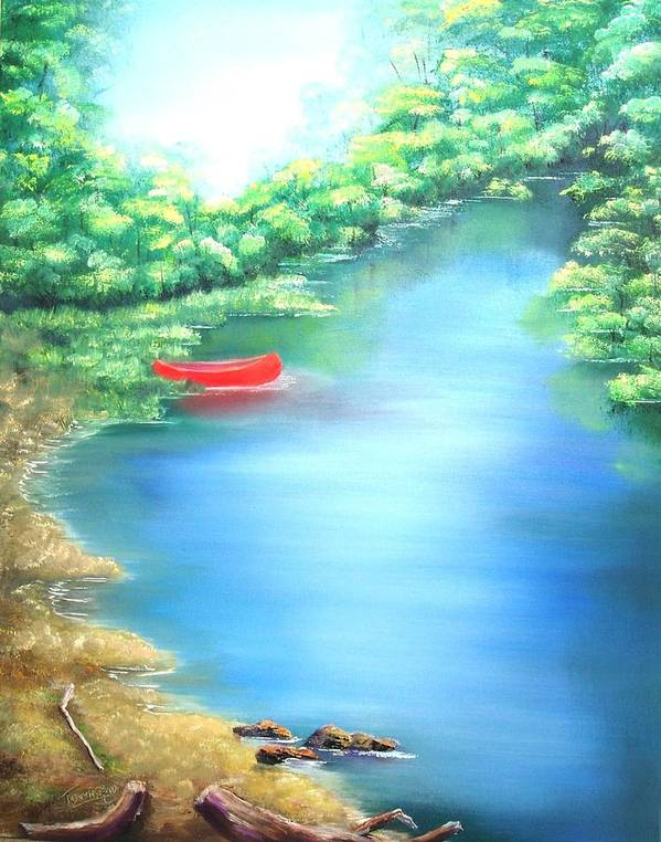Landscape Art Print featuring the painting The Red Canoe by Connie Townsend