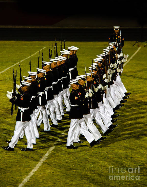 Tunited States Art Print featuring the photograph The United States Marine Corps Silent Drill Platoon by Robert Bales