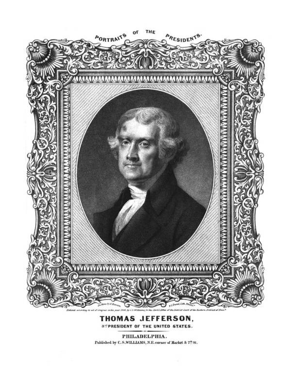 United States Print featuring the drawing Thomas Jefferson by Aged Pixel