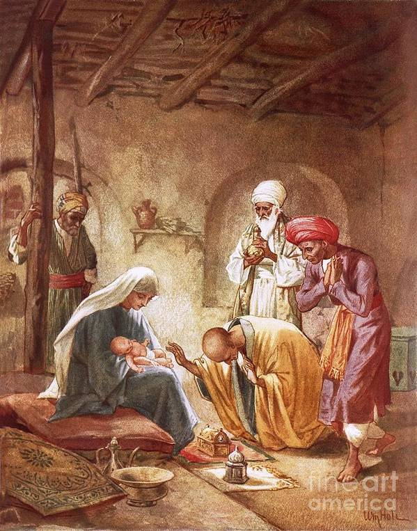 Bible; Jesus Christ; Three Kings; Three Wise Men; Worshiping; Stable; Baby; Three Kings; Gifts Art Print featuring the painting Three Kings Worship Christ by William Brassey Hole