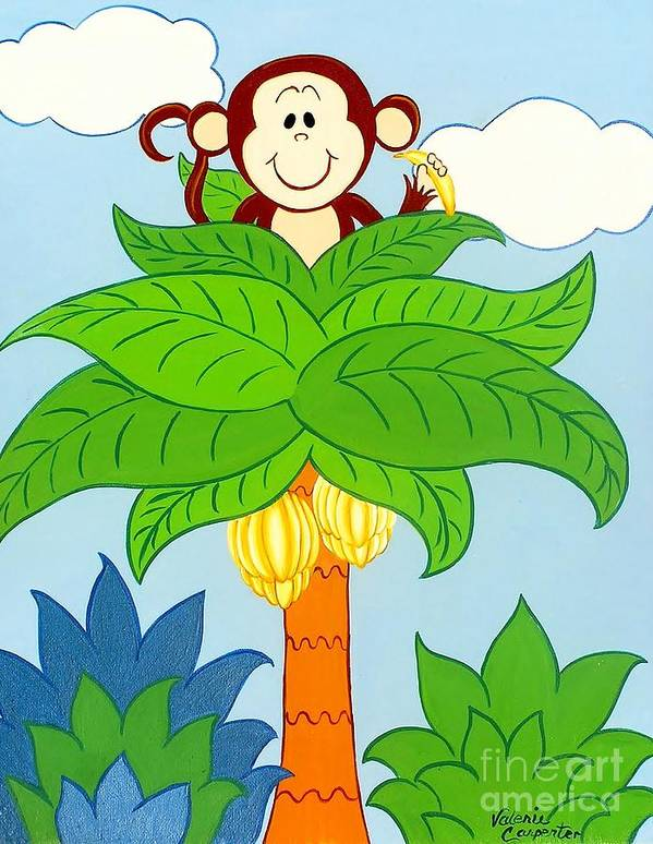 Monkey Art Print featuring the painting Tree Top Monkey by Valerie Carpenter