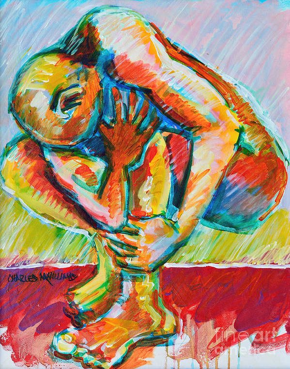 Struggles Art Print featuring the painting Trilogy - N My Soul 3 by Charles M Williams
