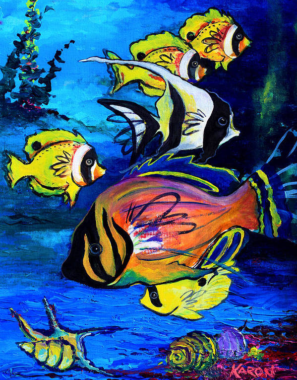 Tropical Art Art Print featuring the painting Tropical Fish by Karon Melillo DeVega
