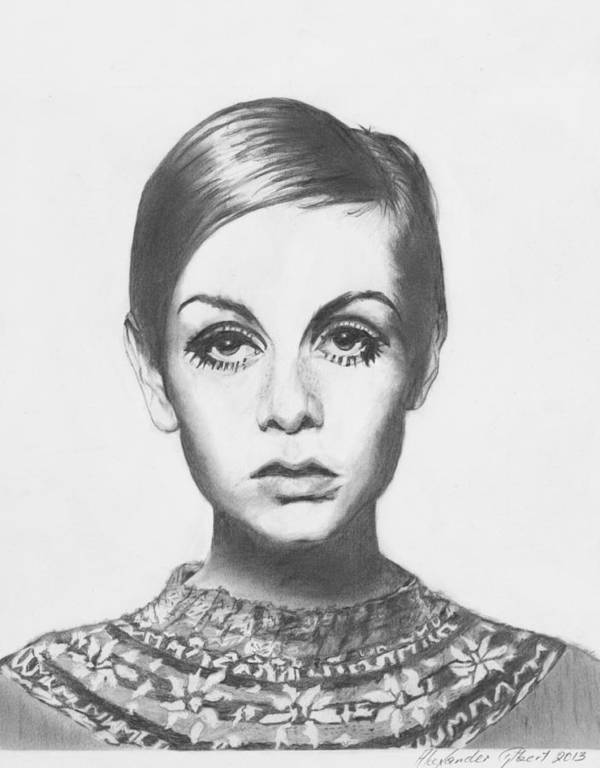 Twiggy Art Print featuring the drawing Twiggy - Pencil by Alexander Gilbert