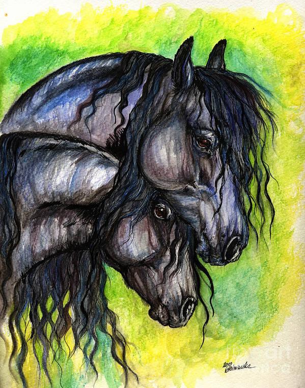 Fresian Horse Art Print featuring the painting Two Fresian Horses by Angel Ciesniarska