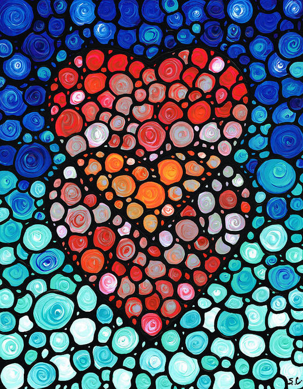 Heart Art Print featuring the painting Two Hearts - Mosaic Art By Sharon Cummings by Sharon Cummings