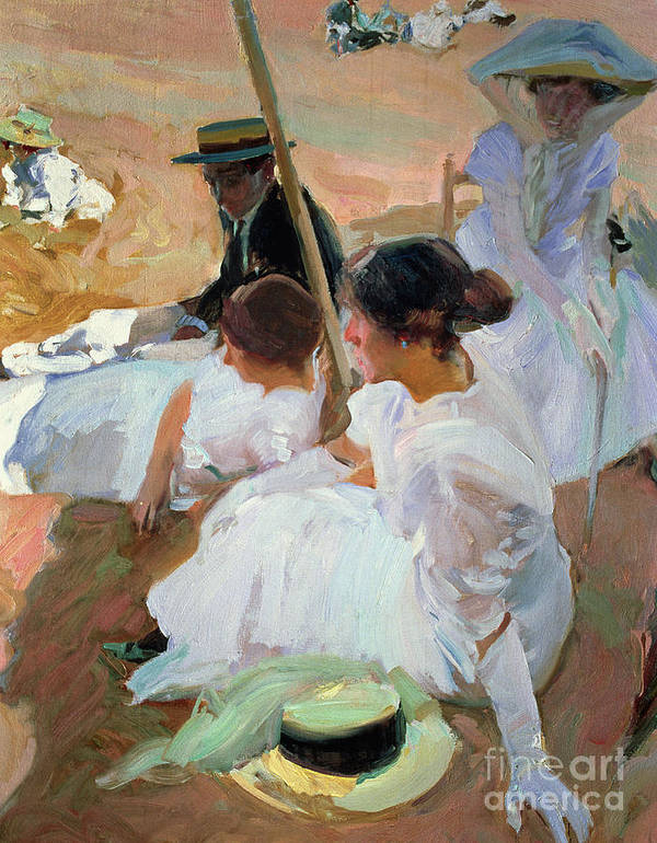 North West; Spain; Boater; Gloves; Hat; Beach Scenes Art Print featuring the painting Under The Parasol by Joaquin Sorolla y Bastida